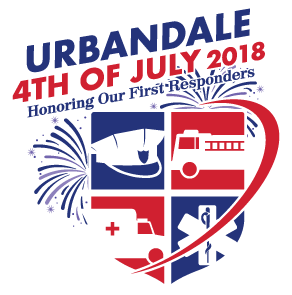 The logo for 2018's Urbandale fourth of July celebrations. The theme was 'Honoring our First Responders""