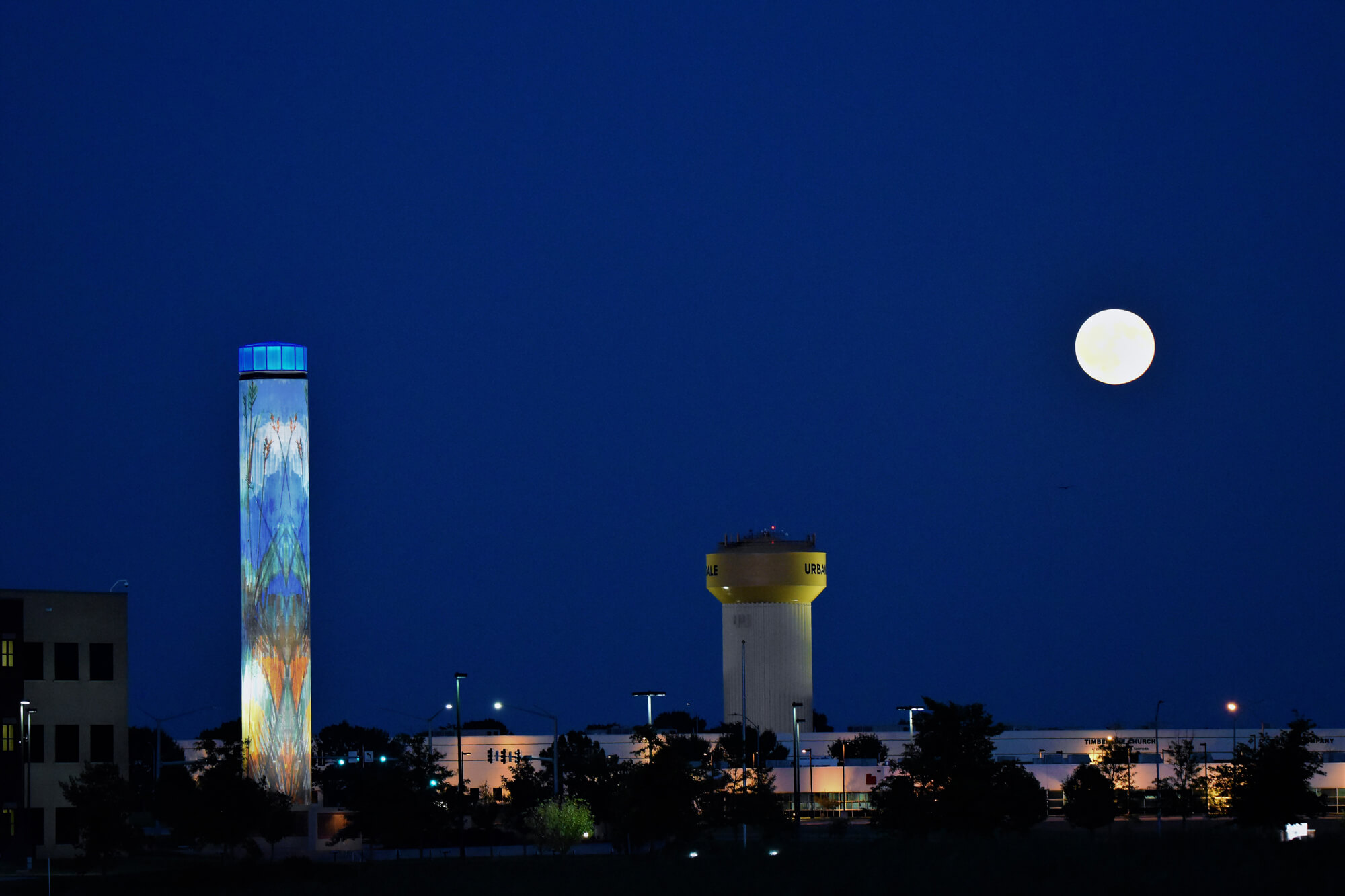 A view of the Urbandale skyline at night.