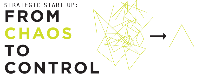 """A logo for Chaos to Control that reads, """"Strategic Start Up: From Chaos to Control"""""""