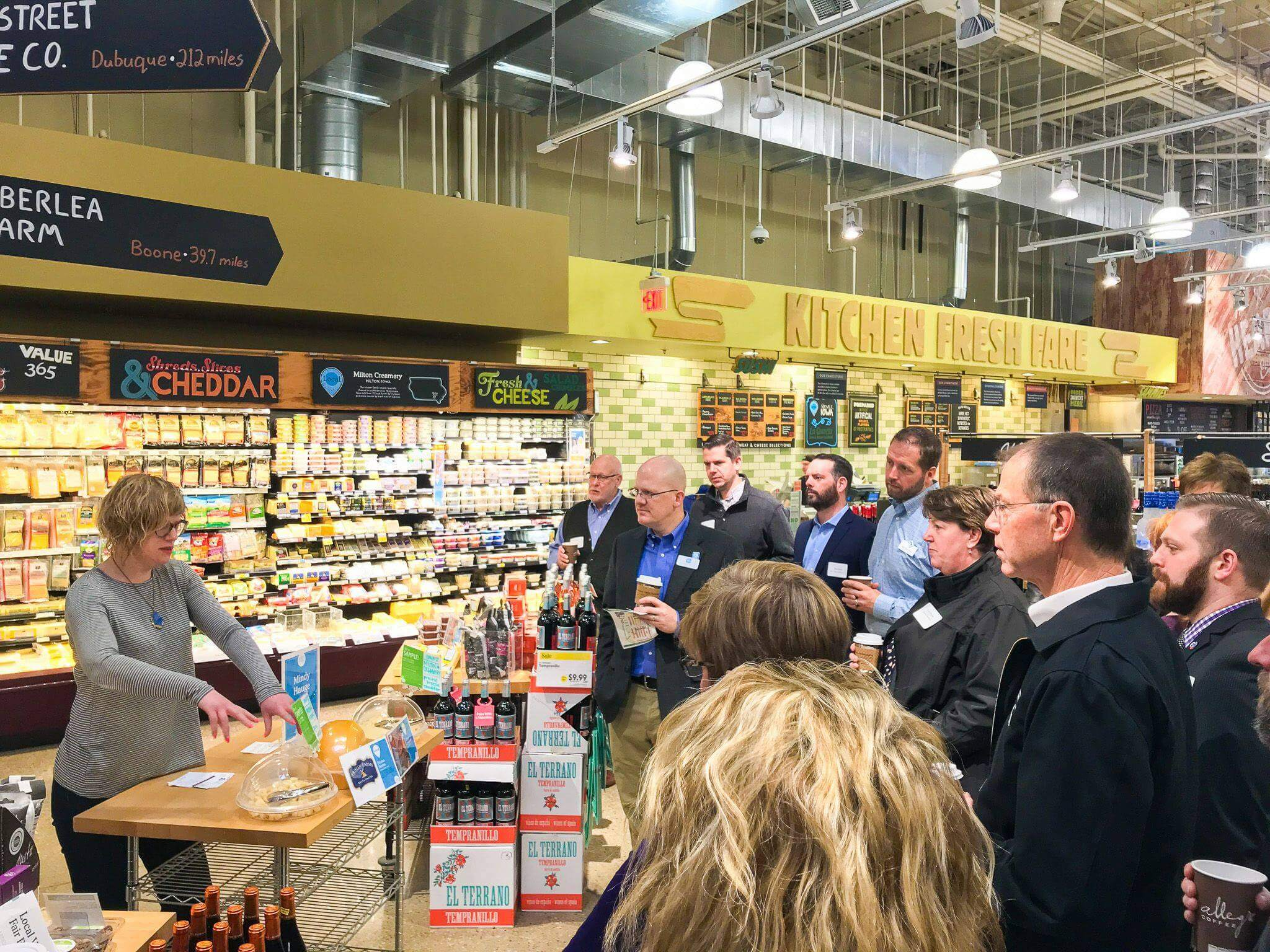 A chamber member holds a sampling event at a local grocery.