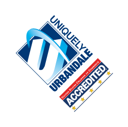 The Urbandale Chamber of Commerce logo with a 5 star accreditation marking.